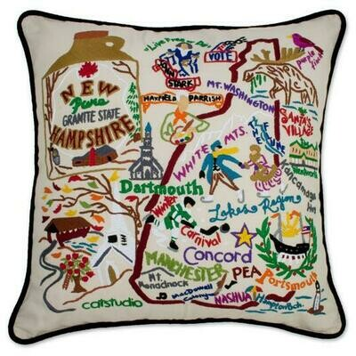 New Hamshire Hand-Embroidered Pillow