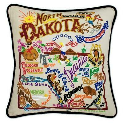 North Dakota Hand-Embroidered Pillow