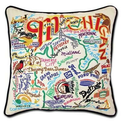 Michigan Hand-Embroidered Pillow
