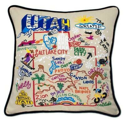 Utah Hand-Embroidered Pillow