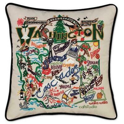 Washington Hand-Embroidered Pillow