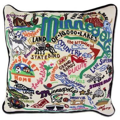 Minnesota Hand-Embroidered Pillow