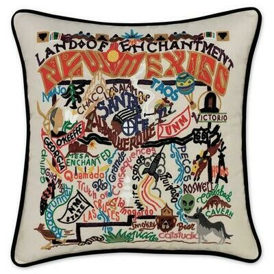 New Mexico Hand-Embroidered Pillow