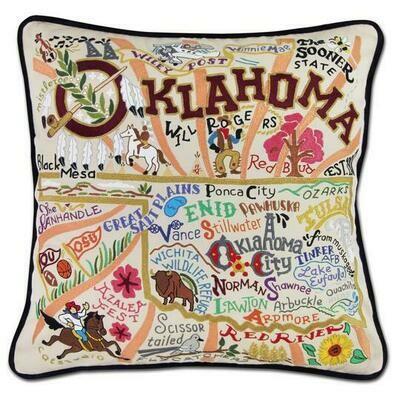 Oklahoma Hand-Embroidered Pillow