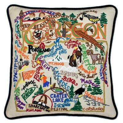 Oregon Hand-Embroidered Pillow