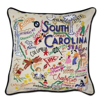 South Carolina Hand-Embroidered Pillow