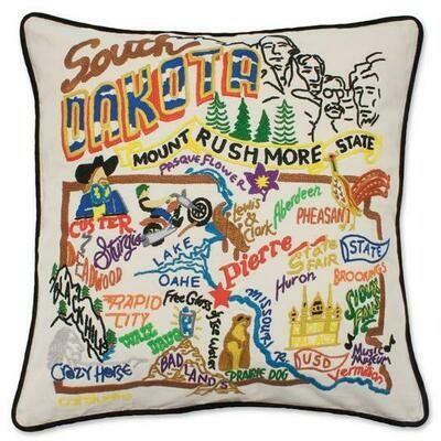 South Dakota Hand-Embroidered Pillow