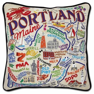 Portland, ME Hand-Embroidered Pillow