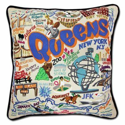 Queens Hand-Embroidered Pillow