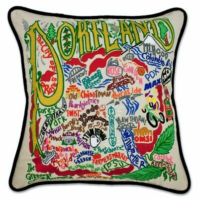Portland, OR Hand-Embroidered Pillow