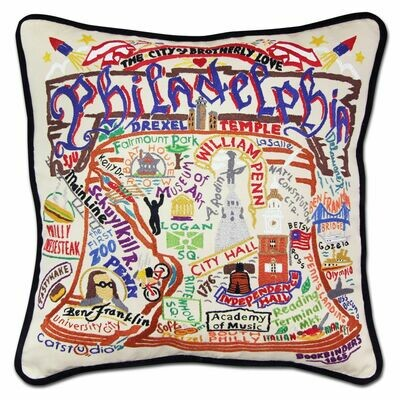 Philadelphia Hand-Embroidered Pillow
