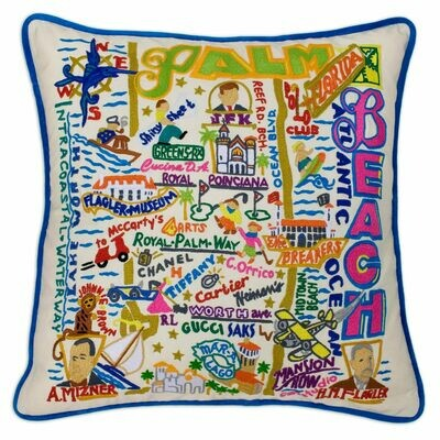 Palm Beach Hand-Embroidered Pillow