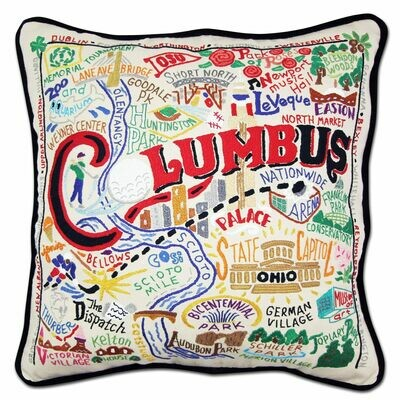 Columbus Hand-Embroidered Pillow