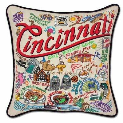 Cincinnati Hand-Embroidered Pillow