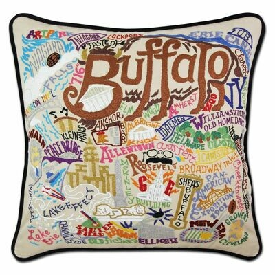 Buffalo Hand-Embroidered Pillow