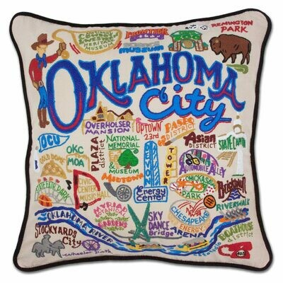 Oklahoma City Hand-Embroidered Pillow