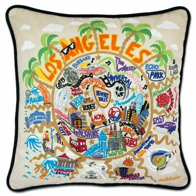 Los Angeles Hand-Embroidered Pillow