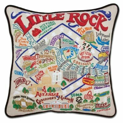 Little Rock Hand-Embroidered Pillow