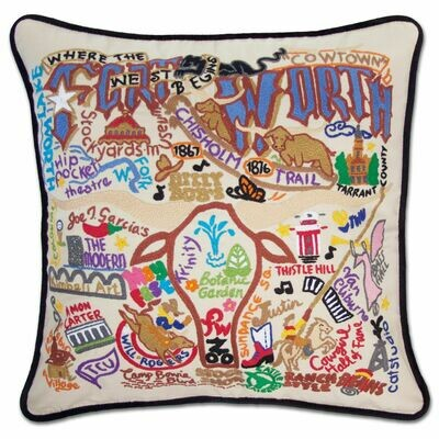 Fort Worth Hand-Embroidered Pillow