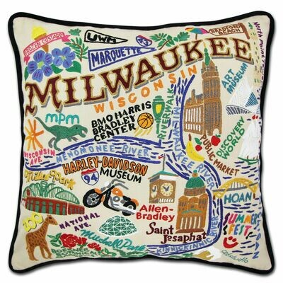 Milwaukee Hand-Embroidered Pillow