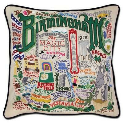 Birmingham Hand-Embroidered Pillow