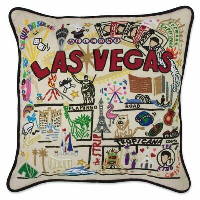 Las Vegas Hand-Embroidered Pillow