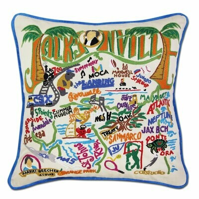 Jacksonville Hand-Embroidered Pillow