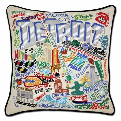 Detroit Hand-Embroidered Pillow