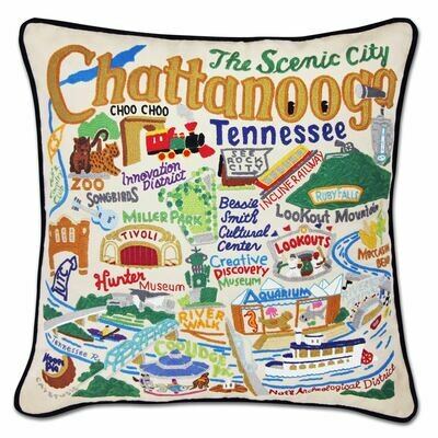 Chattanooga Hand-Embroidered Pillow