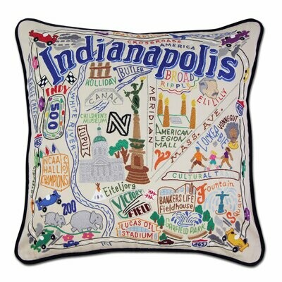 Indianapolis Hand-Embroidered Pillow