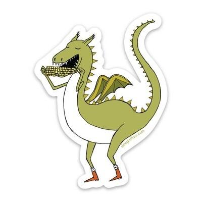 SGF Dragon Eating Corn on the Cob Vinyl Sticker