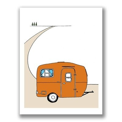 Vintage Orange Scamp Camper Print - 5x7