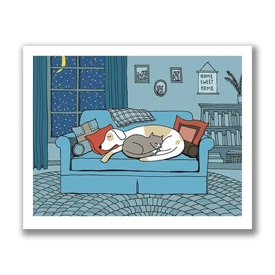 Dog And Cat Snuggle On A Winter's Eve Print - 8x10