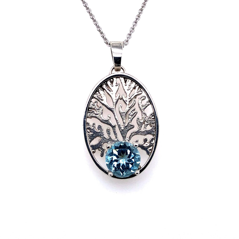 Blue Topaz coral pattern pendant