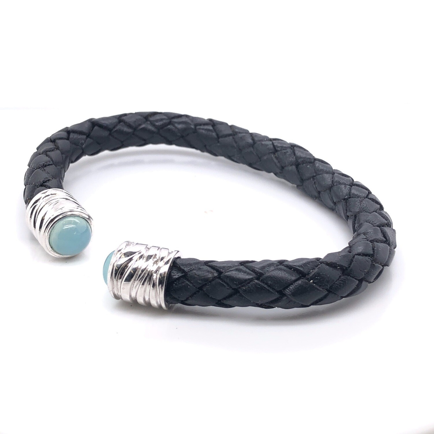 Leather Bracelet- One Size Fits All- Sterling Silver with Aqua Chalsedney Stones.
