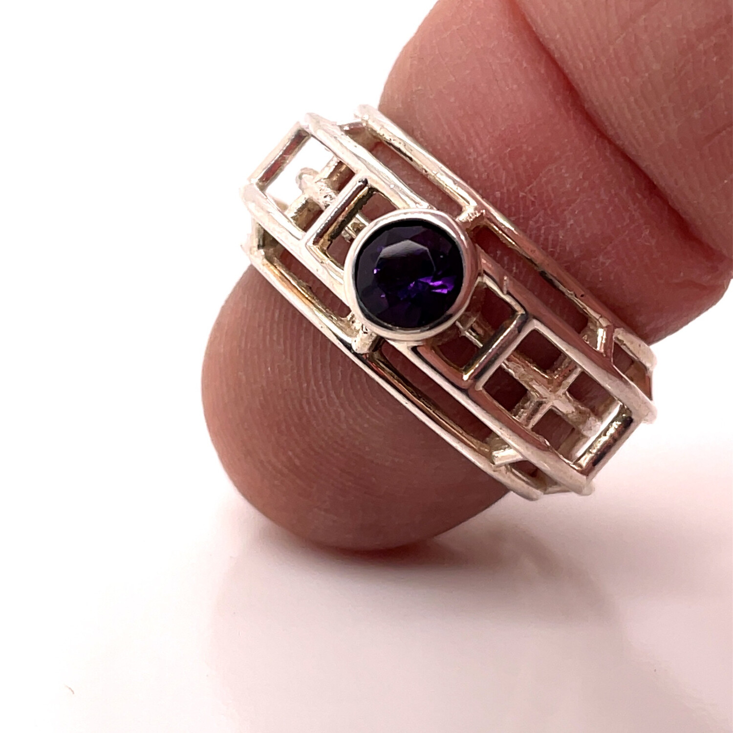 Caged- Sterling Silver Amethyst Ring.