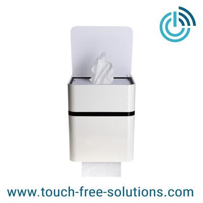 Feuchttuchbox mit Rollenhalter, Toicube M, weiß-schwarz