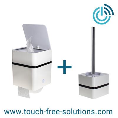 Set Feuchttuchbox mit Rollenhalter plus WC-Bürste