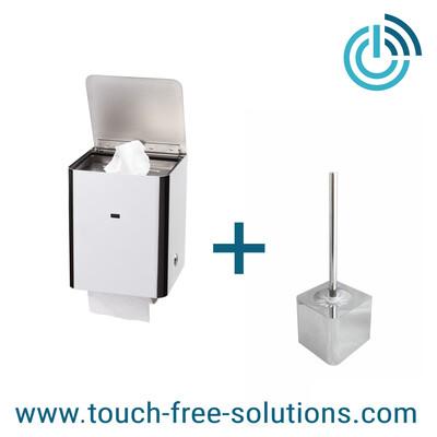 Set: Feuchttuchspender mit WC-Rollenhalter plus Bürstenhalter, Edelstahl poliert