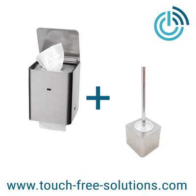 Set: Feuchttuchspender mit WC-Rollenhalter plus Bürstenhalter, Edelstahl gebürstet