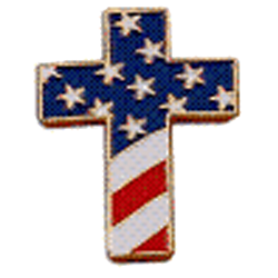 Flag and Cross Lapel Pin Set of 2