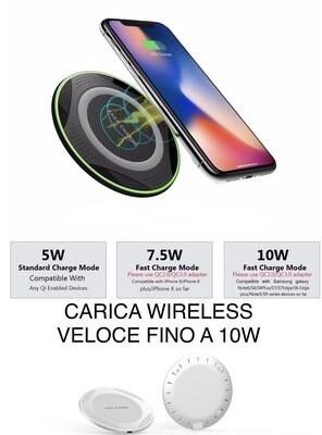 CARICA BATTERIA WIRELESS VELOCE FINO A 10 W ULTRA SLIM  ANCHE PER AUTO CON ADATATTORE PER TUTTI GLI SMARTPHONE -SMARTWATCH -TABLET  APPLE E ANDROID.