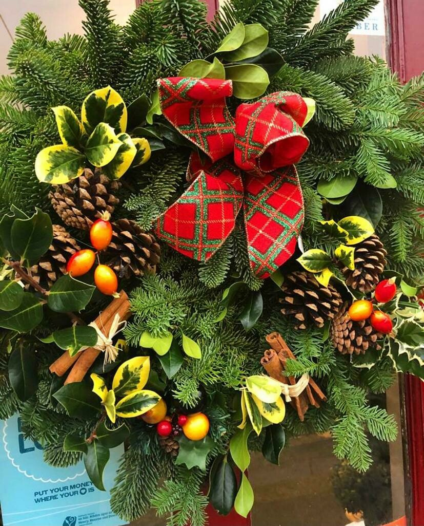 Festive Fresh Spruce Door Wreath.