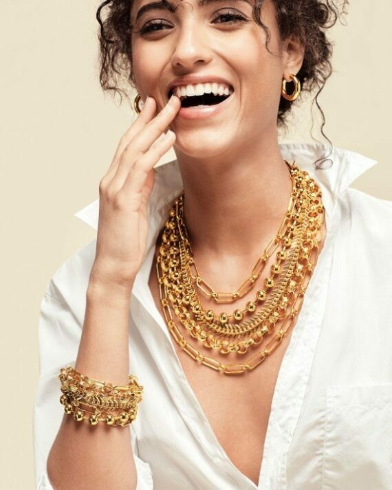 GOLD CHAINED LAYERED NECKLACE