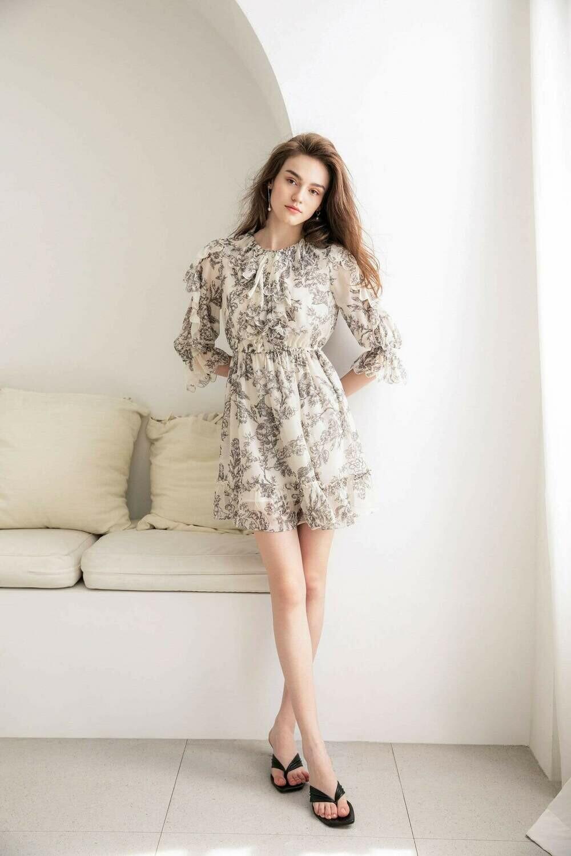DAMASQUE FLORAL DRESS