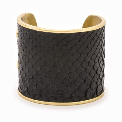 LARGE BLACK GOLD CUFF