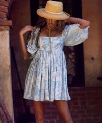 S - BABY BLUE TOILE PUFF DRESS