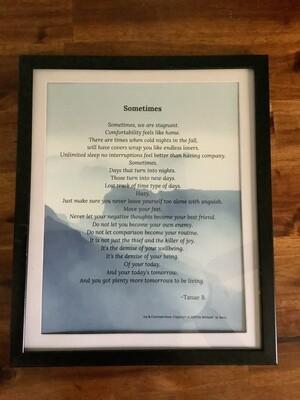 Sometimes- Poem frame