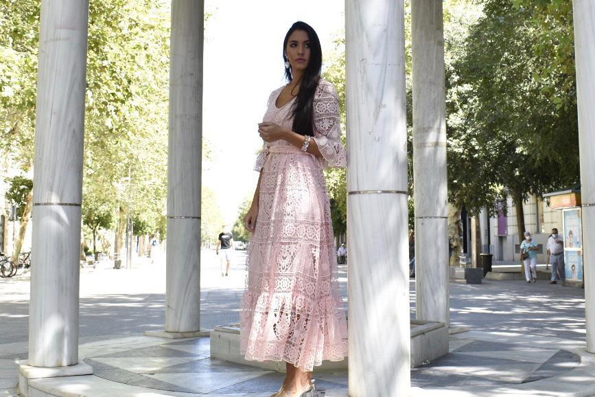 Vestido maxi boho rosa
