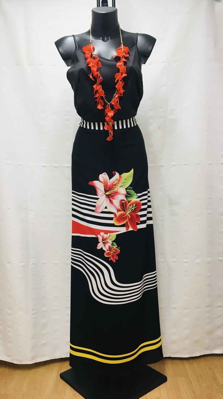 Conjunto negro y floral